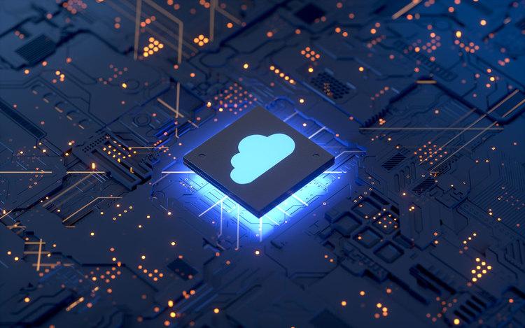 Cloud marked processor on circuit board