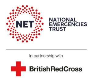 logo for NET national emergencies trust in partnership with the British Red Cross