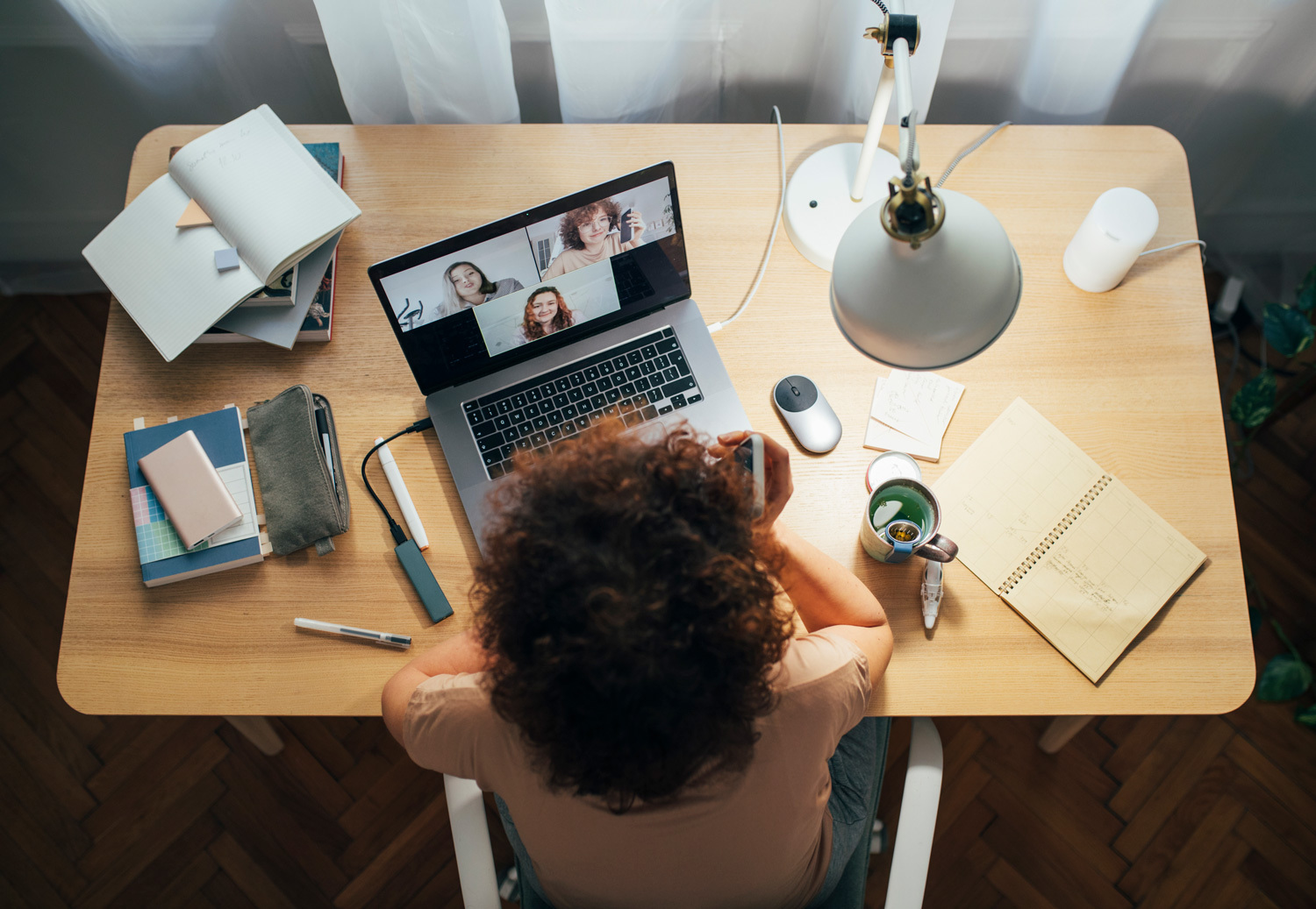 woman working from her laptop at home